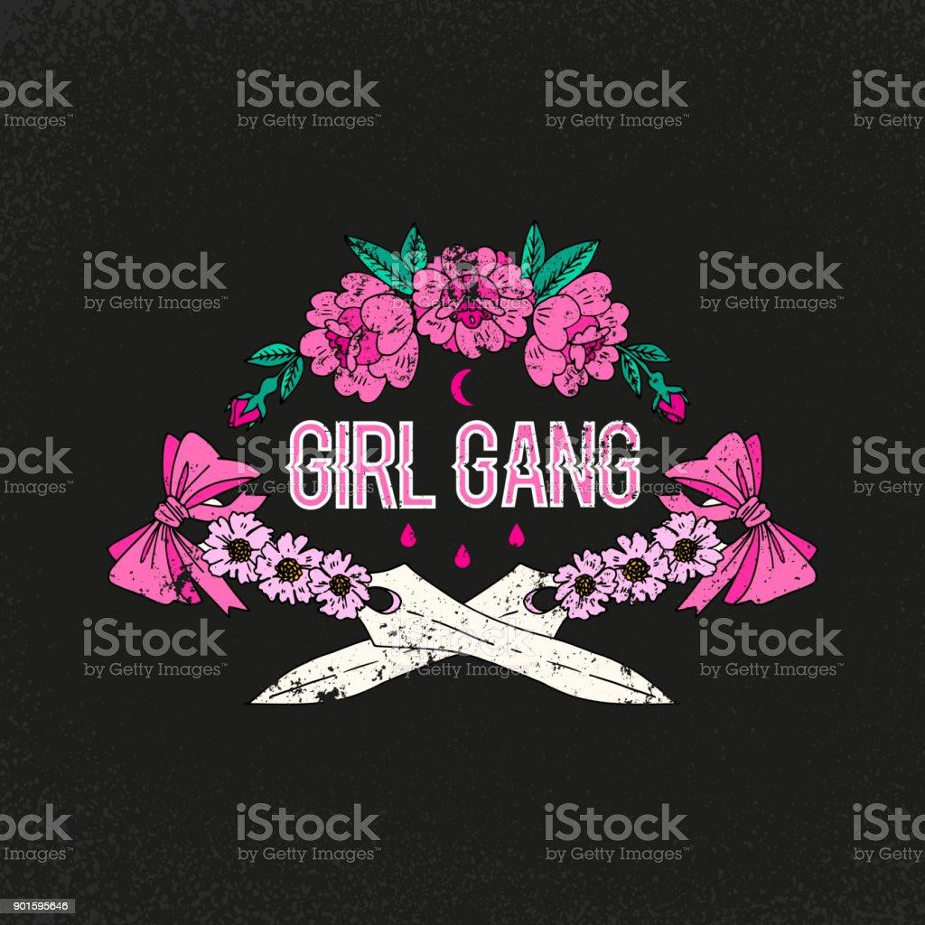 Lema de la banda de chica. De la flor con la espada. Parche de la chica del rock and roll. Tipografía gráfica impresión, de la moda dibujo para las camisetas. Pegatinas Vector, impresión, parches vintage - ilustración de arte vectorial
