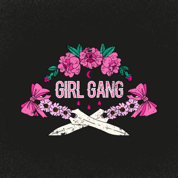 ilustraciones, imágenes clip art, dibujos animados e iconos de stock de lema de la banda de chica. de la flor con la espada. parche de la chica del rock and roll. tipografía gráfica impresión, de la moda dibujo para las camisetas. pegatinas vector, impresión, parches vintage - tipos de letra de tatuajes