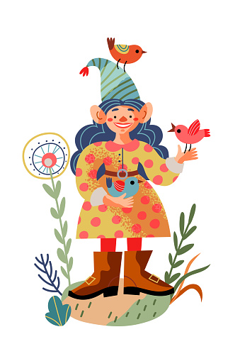 Girl garden gnome with birds. Funny little female dwarf statue vector illustration. Midget in hat and costume standing and smiling with birds in hands and on cap on white background