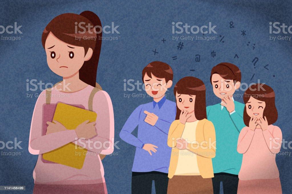 Girl Getting Bullied In School Stock Illustration - Download