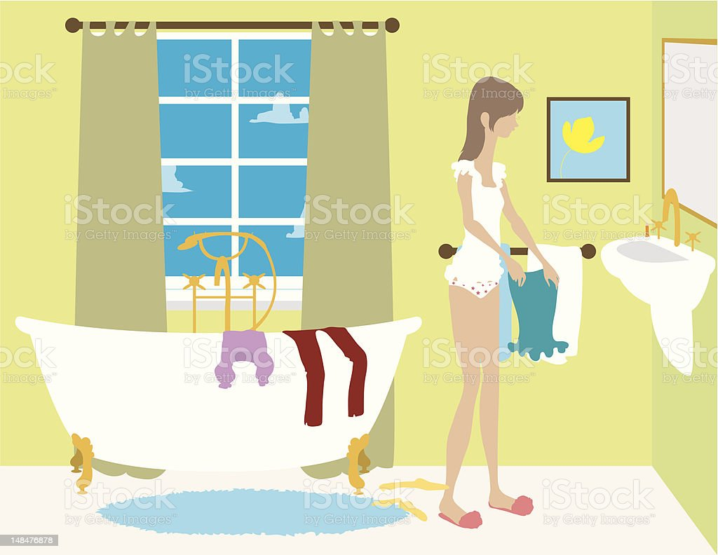 Girl Getting Dressed in Bathroom royalty-free girl getting dressed in bathroom stock vector art & more images of adult