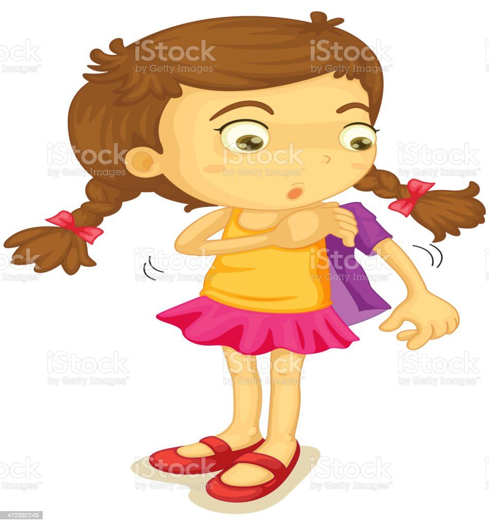 Girl getting dressed royalty-free stock vector art