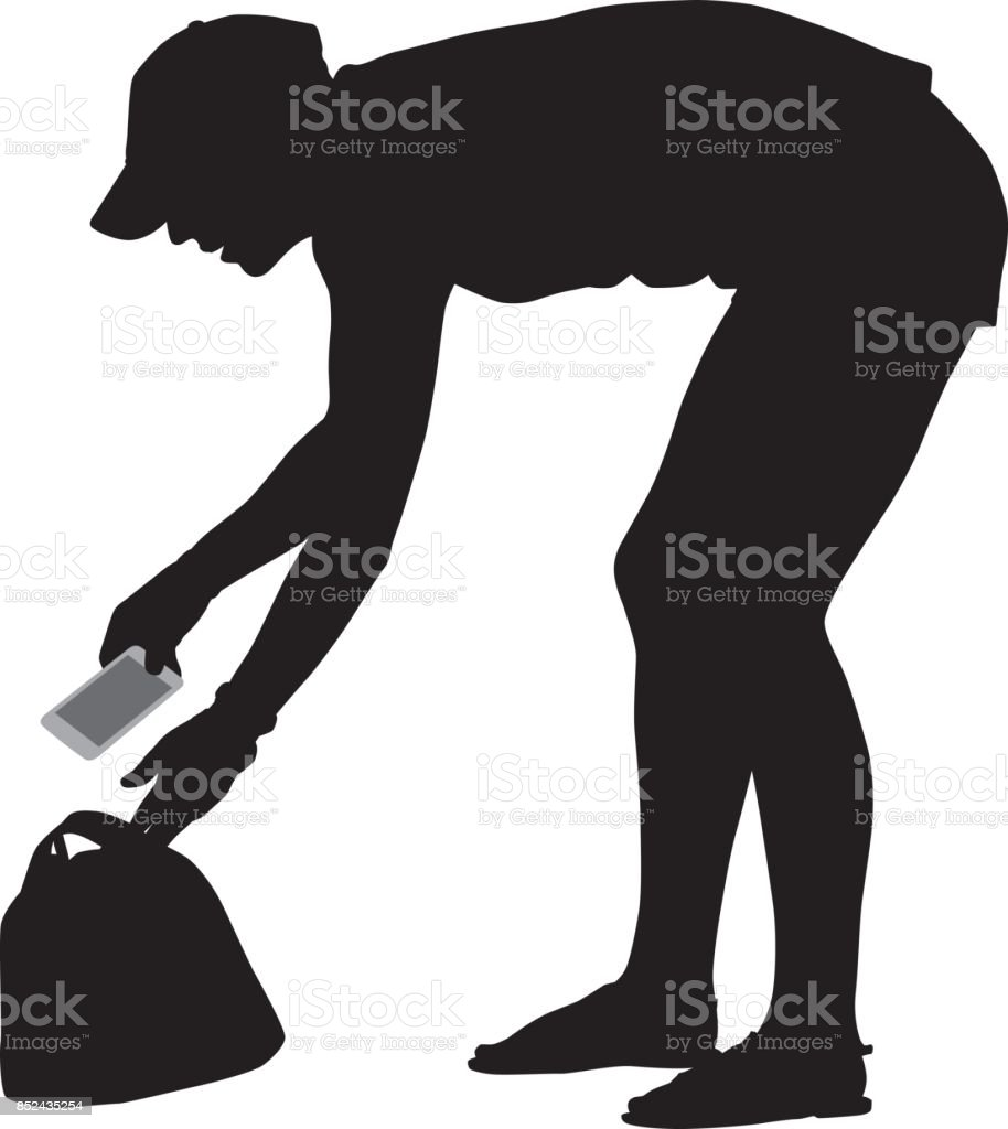 Girl Getting Phone From Purse vector art illustration