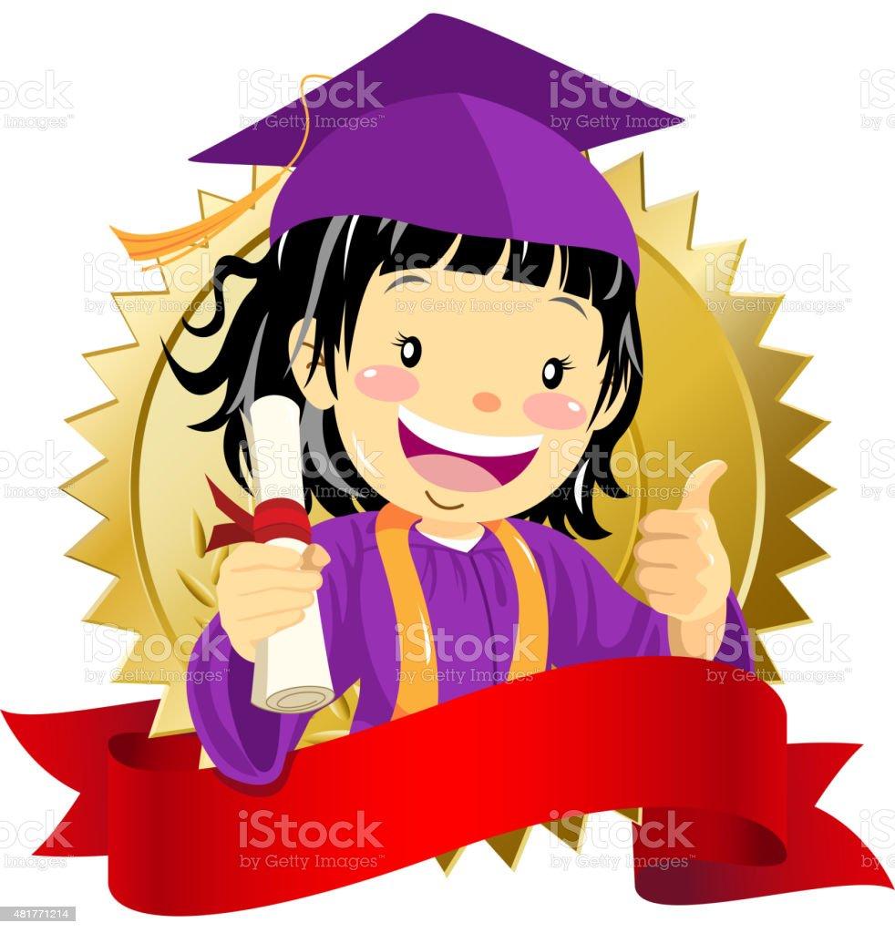 Garota de graduação com diploma - ilustração de arte em vetor