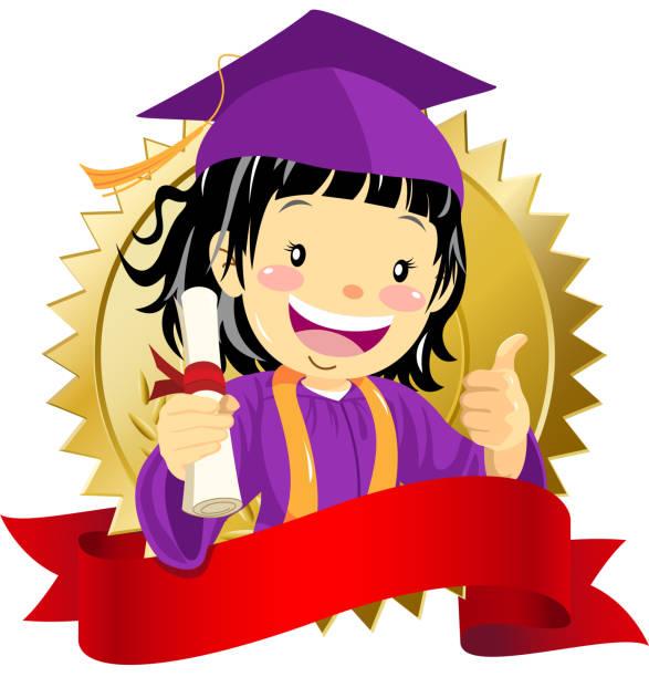 ilustrações, clipart, desenhos animados e ícones de garota de graduação com diploma - bandeira da coreia