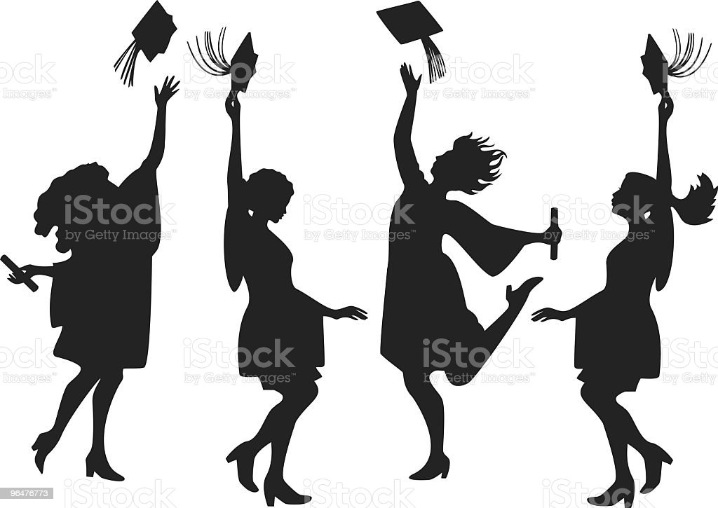 girl graduate silhouettes vector art illustration