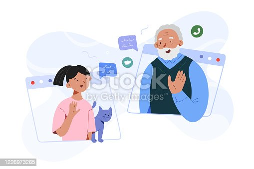 istock Girl granddaughter and grandpa video call, family video conference, grandchild toddler talking to grandfather via webcam, communication with old people during quarantine and self-isolation 1226973265