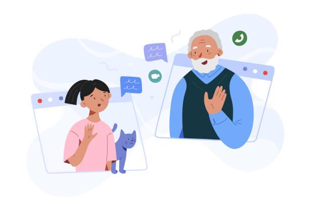 ilustraciones, imágenes clip art, dibujos animados e iconos de stock de niña nieta y abuelo videollamada, videoconferencia familiar, nieto niño hablando con el abuelo a través de webcam, comunicación con ancianos durante la cuarentena y autoaislamiento - abuelo
