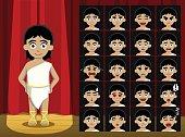 Girl Greek Roman Costume Cartoon Emotion faces Vector Illustration