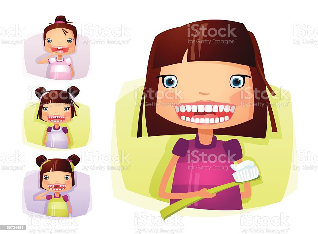 Girl Growing Teeth vector art illustration