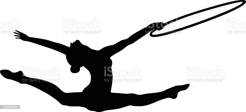 girl gymnast splits jump vector art illustration