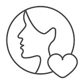 istock Girl half face, head and heart, woman, love thin line icon, dating concept, profile like vector sign on white background, outline style icon for mobile concept and web design. Vector graphics. 1336406923