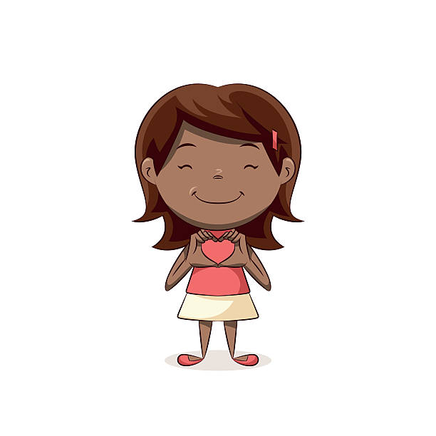 Girl hand heart Children making hand heart shape, cute kid, hand love gesture, female, happy cartoon character, female, vector illustration, isolated, white background african american valentine stock illustrations