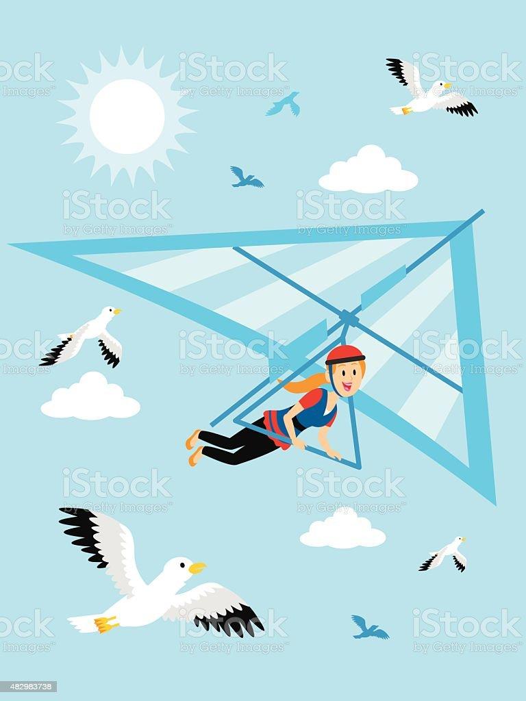 Girl Hang Gliding at the Blue Sky Clipart vector art illustration