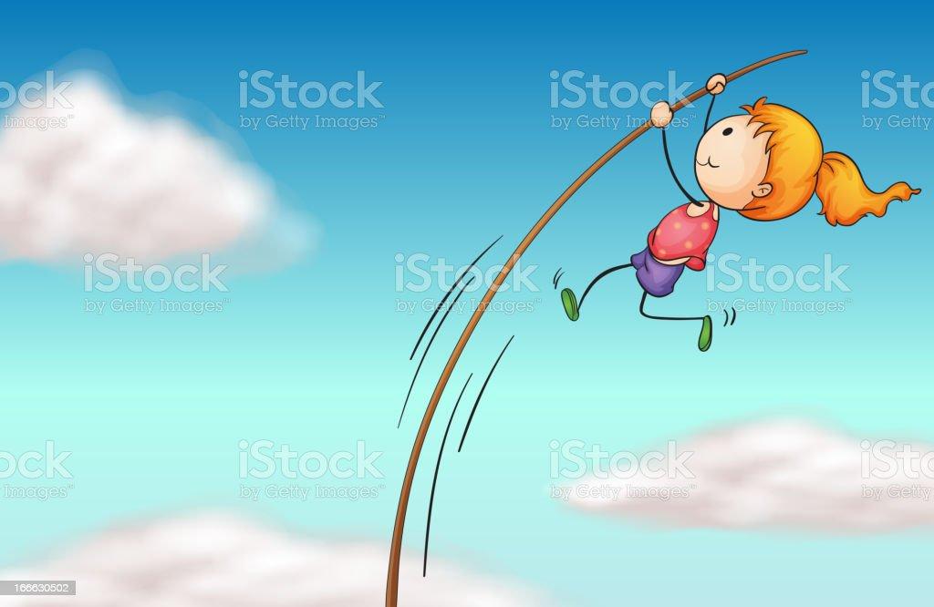 Girl hanging at a long stick royalty-free stock vector art