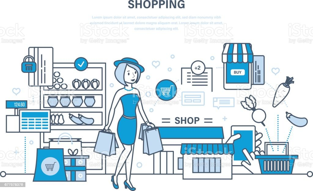Girl has made purchases in mall, selecting products and ordering royalty-free girl has made purchases in mall selecting products and ordering stock vector art & more images of adult