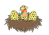 Girl hatching out of birds ' nests.