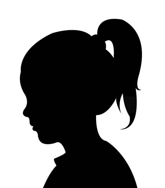 stockillustraties, clipart, cartoons en iconen met een meisje hoofd silhouet vector - schoolmeisje