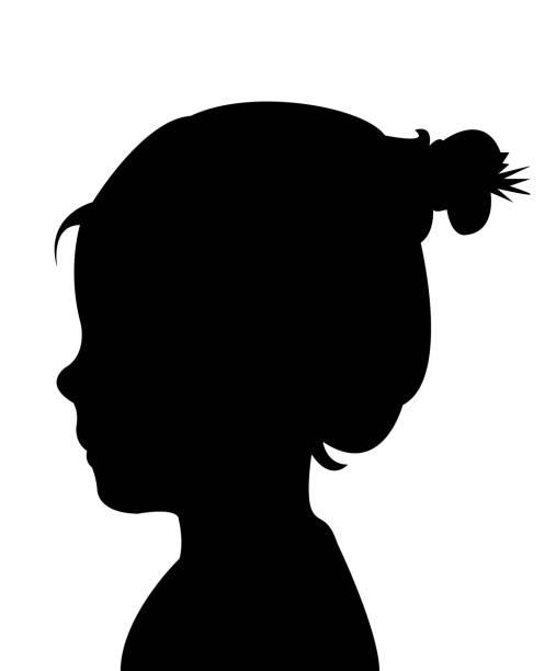 stockillustraties, clipart, cartoons en iconen met een meisje hoofd silhouet vector - alleen één meisje