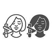Girl head with hair curler line and solid icon, makeup routine concept, morning hair care routine sign on white background, Woman and Hair waver icon in outline style for mobile, web. Vector graphics
