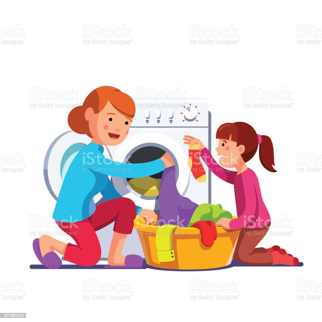 Girl help mum loading laundry to washing machine vector art illustration