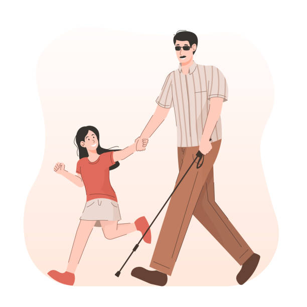 girl helping blind person with long cane on street - physical therapy stock illustrations