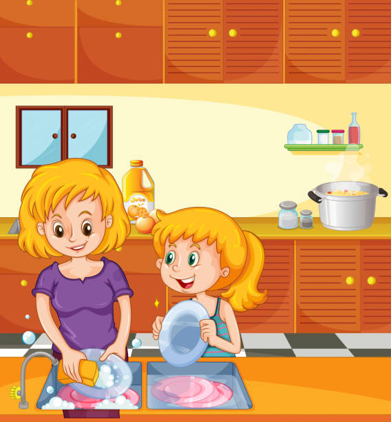 Royalty Free Mom Washing Dishes Clip Art, Vector Images ...