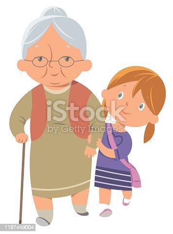 istock Girl helping old woman 1197449004