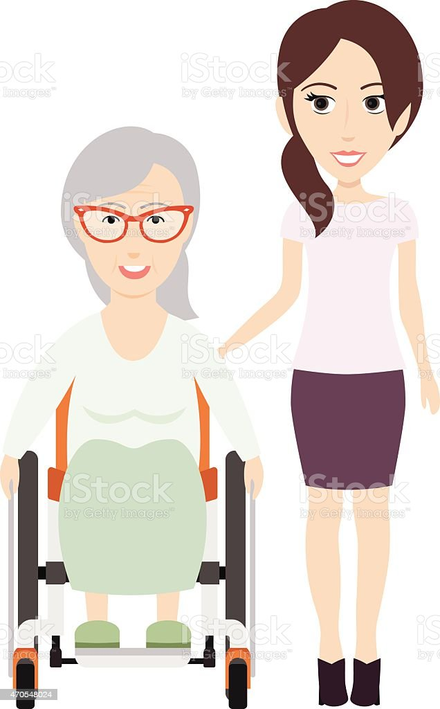 Girl Helps Grandma vector art illustration