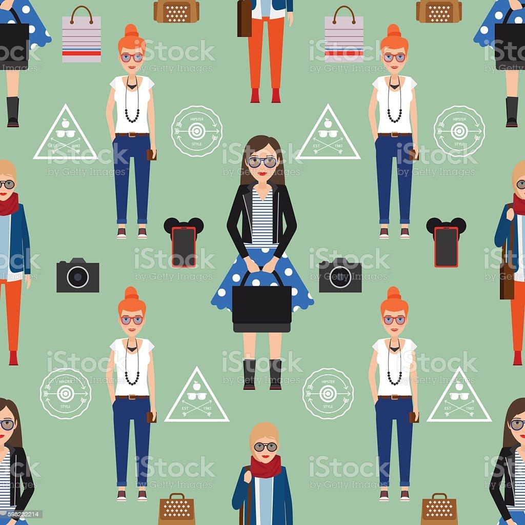 Girl hipster seamless pattern ilustração de girl hipster seamless pattern e mais banco de imagens de adulto royalty-free