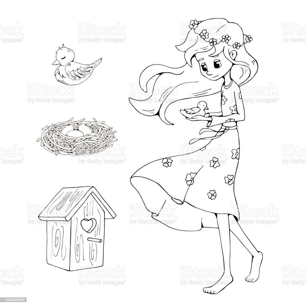 Gadis Memegang Buku Mewarnai Burung Ilustrasi Stok Unduh Gambar Sekarang Istock