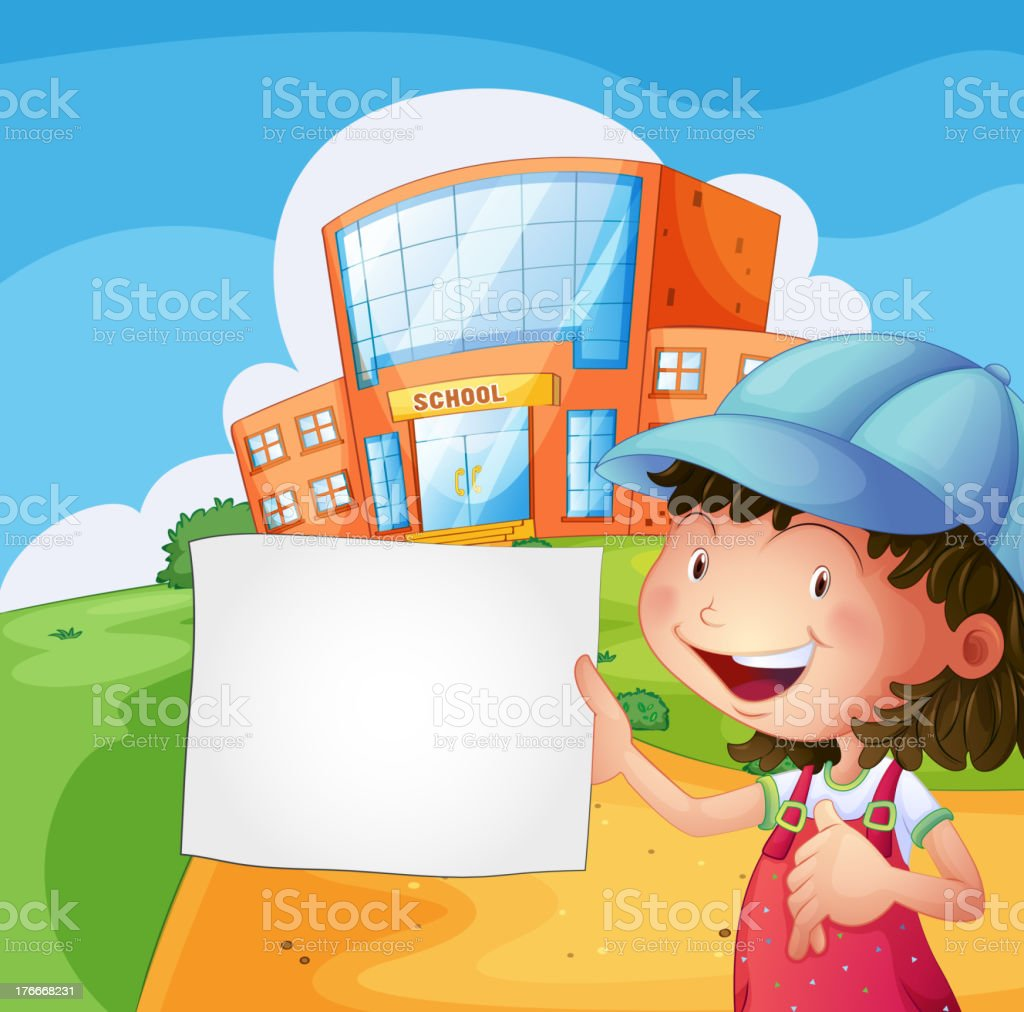 girl holding a blank paper royalty-free girl holding a blank paper stock vector art & more images of adult