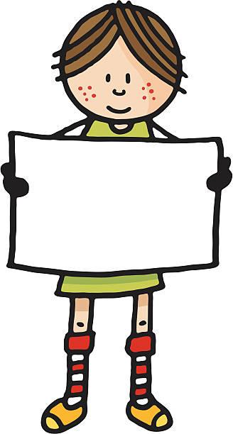 illustrations, cliparts, dessins animés et icônes de jeune fille tenant un panneau vierge - femme tache de rousseur