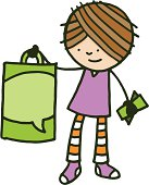 Girl holding a green shopping back and some money
