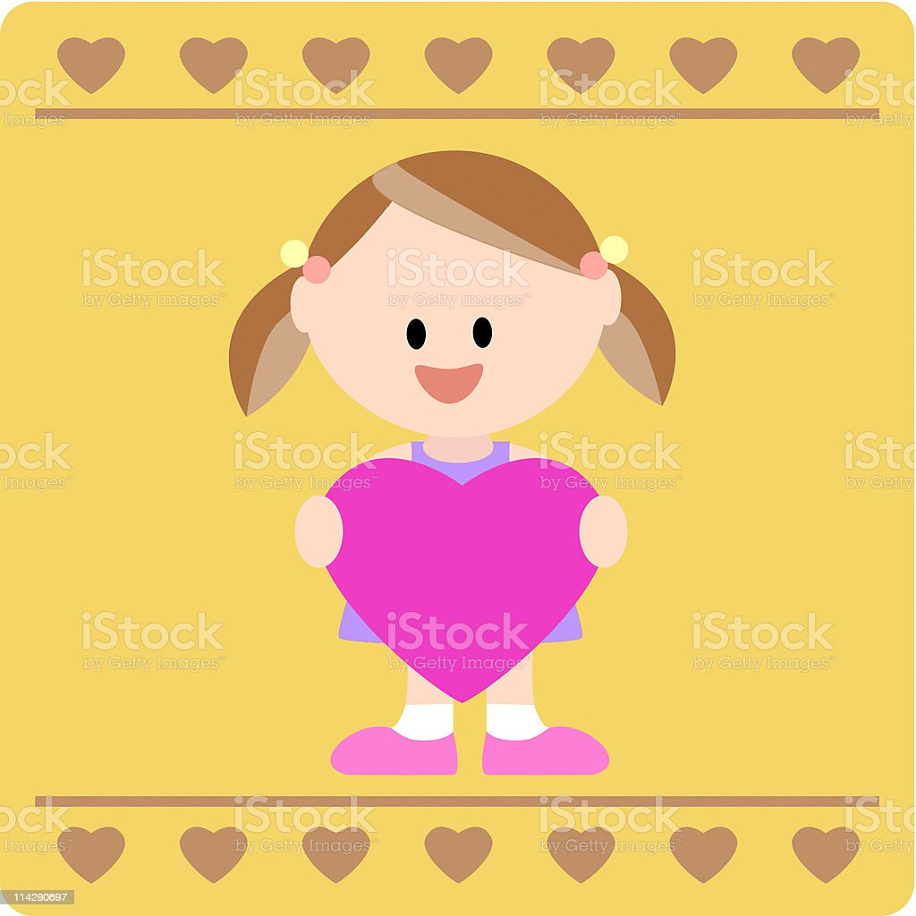 girl holding a heart message board royalty-free stock vector art