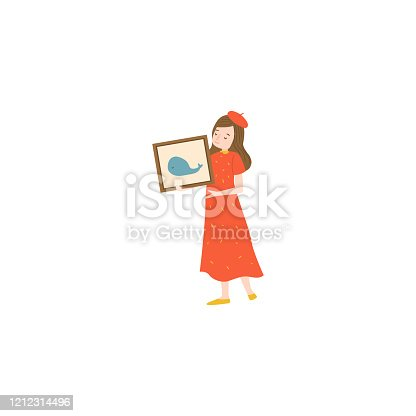 istock Girl holding a picture. Raster illustration isolated on white background 1212314496