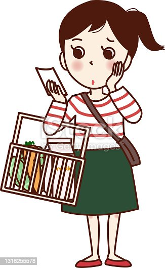 istock A girl holding a shopping basket and looking at a memo. 1318255578