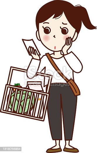 istock A girl holding a shopping basket and looking at a memo. 1318255954