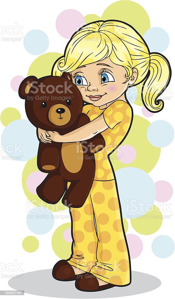 Girl holding a teddy bear vector art illustration