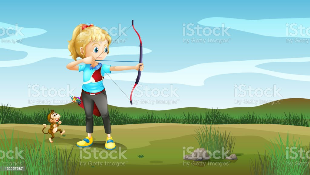 girl holding an archery with a monkey at the back royalty-free girl holding an archery with a monkey at the back stock vector art & more images of adult