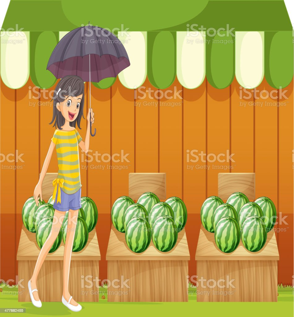 Girl holding an umbrella walking in front of watermelon shop royalty-free girl holding an umbrella walking in front of watermelon shop stock vector art & more images of adult