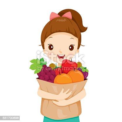 Girl Holding Bag Full Of Fruits