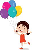 Happy girl gesturing with colorful balloons.