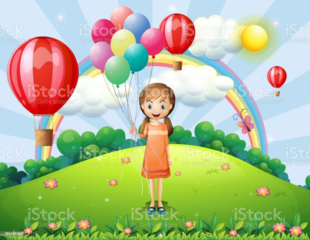 girl holding balloons royalty-free stock vector art