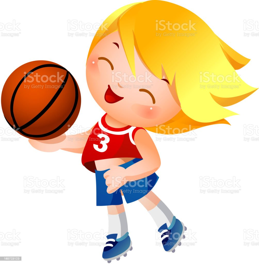 Girl holding basketball royalty-free girl holding basketball stock vector art & more images of activity