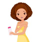Girl Holding Beauty Packaging And Scrubbing On Skin