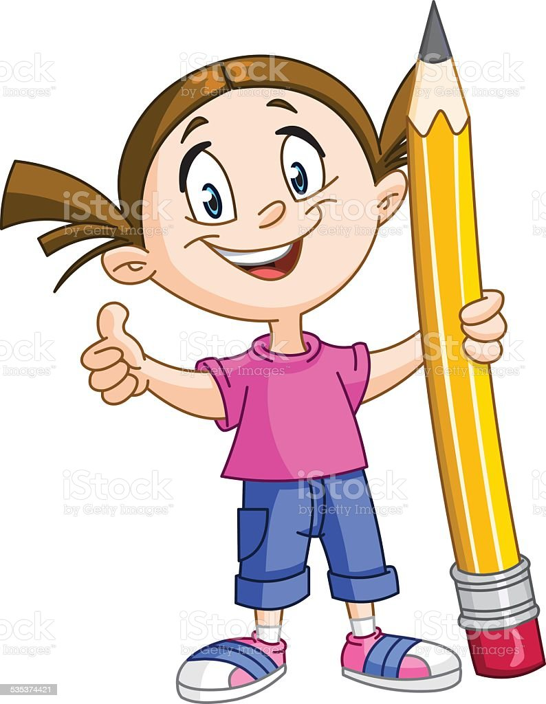 Girl holding big pencil vector art illustration