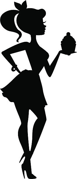 Girl Holding Cupcake Silhouette A silhouette of a cute girl holding a cupcake. Solid shape except for hair bow and cupcake which can be removed (hand is complete underneath).  heyheydesigns stock illustrations