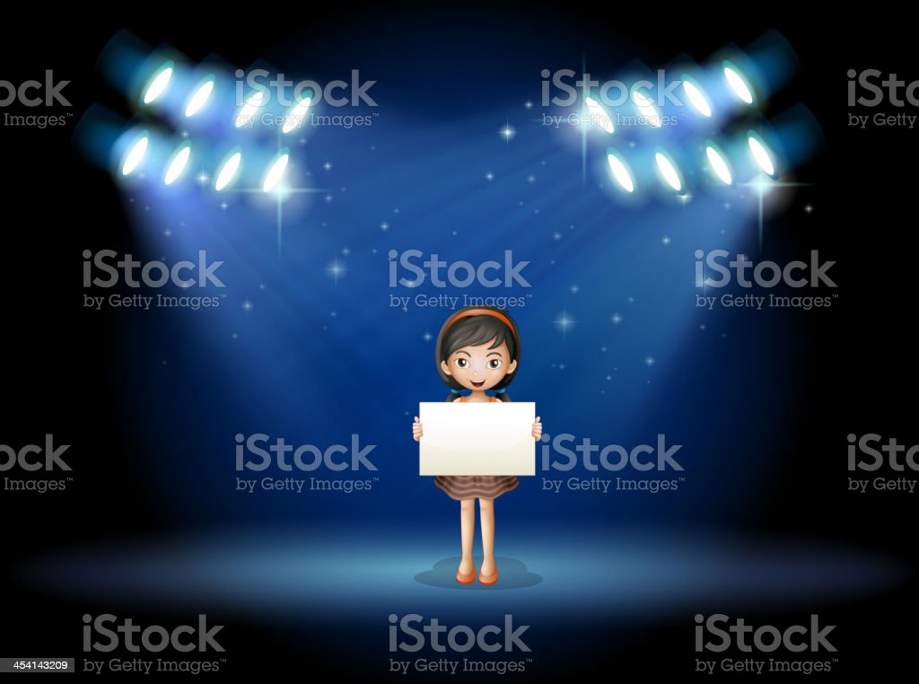 Girl holding empty signage at the stage with spotlights royalty-free stock vector art