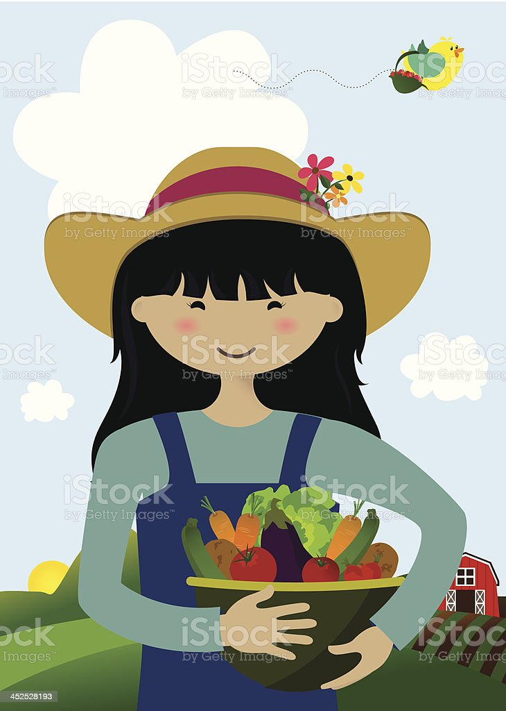 Girl Holding Farmfresh Organic Vegetables vector art illustration